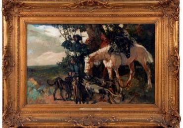 End 19th Century Oil Painting Hunting Scene Herman Emil Pohle, Tablou cu scena vanatoreasca, tablou cu cal, tablou cu caini, tablou cu calaret