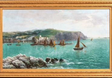English Whitby Harbour Coastal Fishing Ships Seascape, Tablou cu peisaj marin cu vapoare tablou nautic, tablou cu malul marii 19th C Oil on Canvas