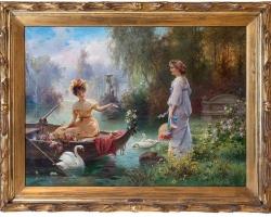 Entitled Mail from Across the Pond by Hans Zatzka, , Tablou cu peisaj de vara, tablou cu parc, tabloucu flori, peisaj din natura, tablou cu femei in parc cu flori si lac
