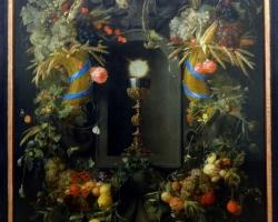 Eucharist, surrounded by fruit garlands, Jan Davidsz de Heem, Tablou cu ghirlanda de flori