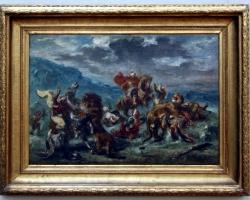 Eugène Delacroix Löwenjagd 1860, tablou cu peisaj din  mitologie, tablou celebru, tablouri living, picturi in ulei pe panza, picturi cu peisaje