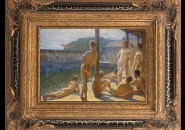 Eugène Jansson The Navy bath house Flottans badhus 1907, Tablou cu peisaj de vara, tablou cu rau, tablou barbati nud, peisaj din natura