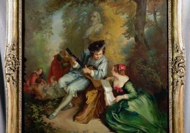 Eugene Blasset, couple playing music, Tablou cu peisaj de vara, tablou cu rau, tablou lac langa padure, peisaj din natura, tablou cu indragostiti