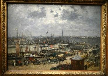 Eugene Boudin Le Port de Bordeaux, Tablou cu peisaj de vara, tablou cu vapoare si barci, tablou cu port, tablou lac, peisaj din natura