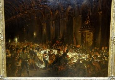 Eugene Delacroix, The Murder of the Bishop of Liege, Based on the novel Quentin Durward Walter Scott 1823, Tablou cu oameni, tablou dramatic