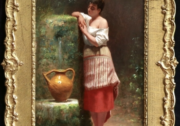 Euphemie David, beautiful young girl filling her water jug at a fountain, tablou cu peisaj de primavara, tablou cu femeie la fantana de apa, tablou cu femeie in parc