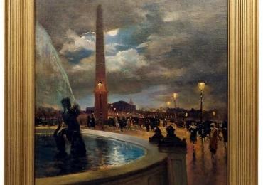 Evening at La Place De La Concorde, Paris by Paul Balmigere, tablou cu peisaj de primavara, tablou cu peisaj nocturn, tablou cu aglomeratii urbane