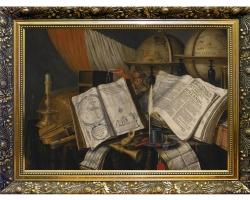 Evert Collier, Stile life muzical instruments books vanitas, Tablouri cu carti si glob pamantesc R