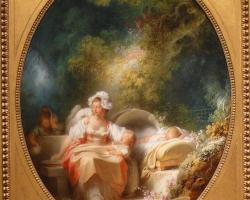 Fagonard good mother, tablou cu peisaj de primavara, tablou cu femeie si bebelus, tablou cu femeie in parc