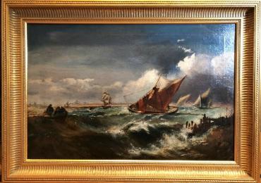 Fantic Coastal Scene, Theodore alexander Weber, Tablou cu peisaj marin cu vapoare tablou nautic, tablou cu malul marii, tablou cu furtuna