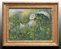 Femeie cu palarie pe camp cu flori salbatice, Monet Nel prato, Tablou cu peisaj de vara