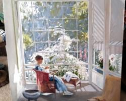Femeie pe terasacu flori, tablou pictat in ulei pe panza, tablou cu peisaj interio