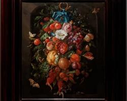 Festoon of Fruit and Flowers c. 1660 by Jan Davidsz. de Heem, Buchet de flori, tablou cu flori in vaza, tablou floral