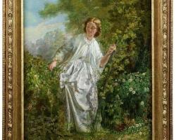 Fine 19th Century Oil Painting of a Girl in Nature, tablou cu peisaj de primavara, tablou cu femeie in parc, tablou cu femeie in peisaj din natura