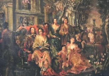 Tablou Flamand Compozitie exterior, peisaj de toamna tablou pictat in ulei pe panza