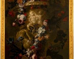 Flemish 17th Century Oil on Canvas, by Renowned Artist, Gaspar Verbruggen, Vas sculptat cu buchet de fiori, tablou cu flori de gradina, tablou floral
