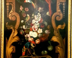 Flemish School, Late 18th century, Still life with Flowers in a Vase, Parrots and a monkey, Tablo