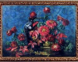 Flower Still Life, Pastel on Paper by Berthe Art Early 20th Century, Buchet de flori, tablou cu flori in vaza, tablou floral
