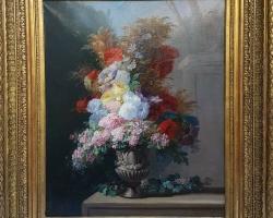 Flowers Still Life, Buchet de flori, tablou cu flori in vaza, tablou floralTablou natura moarta, tablou natura statica,