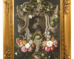 Flowers with cartouche, reproducere pictor celebru D Seghers, Tablouri cu flori Realizate la Co