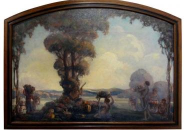 Framed Aubrey Beardsley Style Oil on Canvas, Signed A.E. Hudson, Tablou cu peisaj de vara, tablou cu femei, tablou lac langa padure, peisaj din natura
