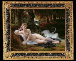 François Édouard Picot, Léda, , Tablou cu peisaj de vara, tablou cu rau, tablou lac langa padure, peisaj din natura, tablou mitologie, tablou femeie nud, tablou cu lebada