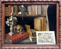 France. XVII siècle. Vanité au cadran solaire, Tablou natura moarta, tablou natura statica cu carti si craniu