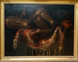 Francesco Fieravino, called Il Maltese Still life with Turkish rug and armour 1650, Tablouri cu a