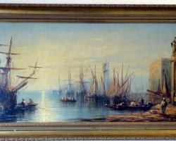 Francis Moltino, 19thC Medium Antique Oil Painting, Busy Dock Scene, Tablou cu peisaj marin cu vapoare tablou nautic, tablou cu malul marii, tablou cu port marin