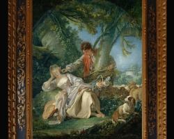 Francois Boucher Vis întrerupt, tablou cu peisaj de primavara, tablou cu indragostiti, tablou cu femeie in parc