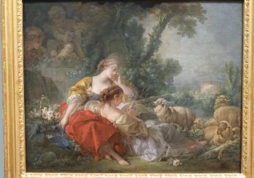Francois Boucher, tablou peisaj de vara cu femei in gradina, tablou peisaj pastoral, Tablouri Pictori Celebri, Reproduceri Picturi Celebre