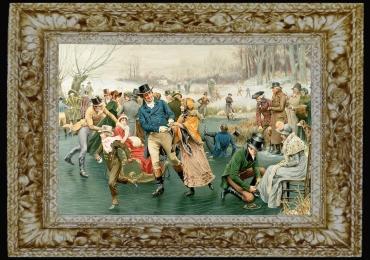 Frank Dadd, Merry Christmas, tablou cu peisaj de iarna la patinaj, tablou cu femei si barbati pe patinuar