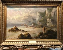 Frank Hider, Tablou cu peisaj marin cu oameni pe faleza marii, tablou nautic, tablou cu malul marii, tablou cu stanci la malul marii
