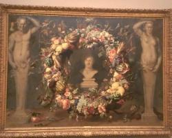 Frans Snyders, pictor Flamand, natur moarta cu coroană de fructe, legume si cu bustul lui Ceres, zeul agriculturii a fertilității și a verii