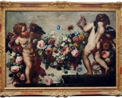 Franz Werner Tamm, detto Daprait,Tablou natura moarta cu ghirlanda de flori, tablou natura statica cu ingeri