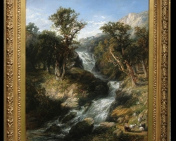 Frederick Henry Henshaw.  Waterfall. Tablou pictat manual in ulei pe panza.