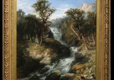 Frederick Henry Henshaw.  Waterfall. Tablou pictat manual in ulei pe panza.