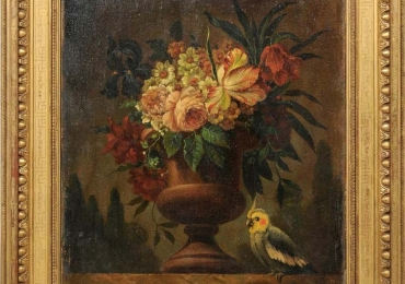 French 18th Century Framed Still-Life Oil Painting with Bouquet and Parakeet, Vas cu fiori si papagal, tablou cu flori de gradina, tablou floral