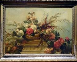 French 19th Century Flowers Still Life Master, Vas cu fiori superbe, tablou cu flori nobile, tablou cu flori de toamna, tablou floral