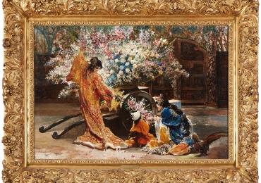 French Japonisme Painting Felix Armand Heullant, , tablou cu peisaj de vara, tablou cu oameni in gradina Japoneza, tablou cu flori, tablou cu femei