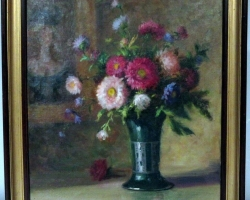 French Oil Painting, Bouquet of Flowers Vase, Vas cu fiori, tablou cu flori de gradina, tablou floral