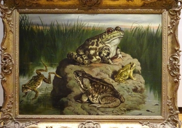 Frog Still Life, tablou cu peisaj de vara, tablou cu broaste, tablou cu lac, tablou cu peisaj din delta