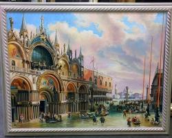 Frumoasa Venetia. Tablou pictat manual in ulei pe panza. Peisaj de vara. Peisa