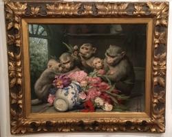 Gabriel Cornelius Ritter von Max fdg, Buchet de flori, tablou cu flori in vaza, tablou floral, Tablou cu animale, tablou cu maimute
