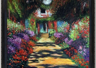 Garden Path at Giverny. Claude Monet. Tablou pictat manual in ulei pe panza