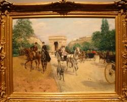 Georges Stein, Călăreți și trăsuri pe Avenue du Bois, Cavaliers et équipages sur l'avenue du Bois, Tablou cu peisaj de vara, tablou cu parc, tablou cuoameni, peisaj din natura