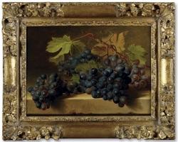 Gerard van Spaendonck Tilburg, Tablou natura moarta cu chiorchine de struguri negrii de masa, tablou natura statica cu fructe de toamna