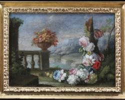 Giacomo Nani, Porto Ercole 1701, Couple still life with vases in a garden, Tablouri cu flori Real