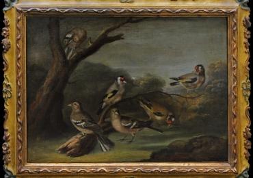 Giorgio Duranti Palazzolo sull'Oglio, 1753, Forest with birds, Tablou cu peisaj de vara, tablou cu   lac langa padure, peisaj din natura, tablou cu pasari