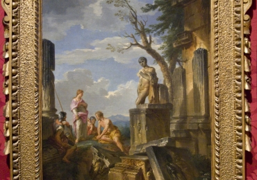 Giovanni Paolo Panini Rome to study, Tablou cu peisaj de vara, tablou cu ruine, tablou cu oameni in peisaj Roman, tablou cu statui